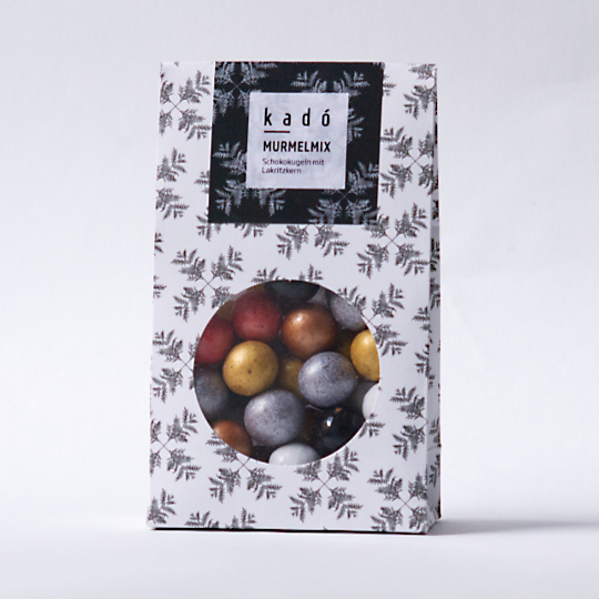 Liquorice-Marbles in kadó design bag, 200g